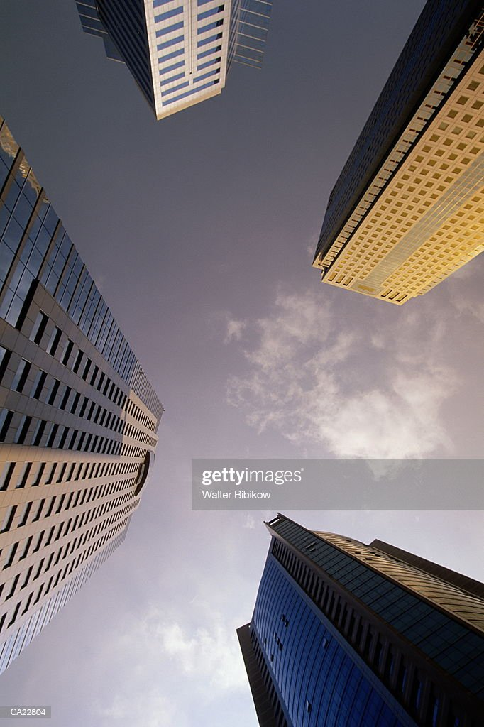 China, Shanghai, Pudong, office buildings, view from below : Stock Photo