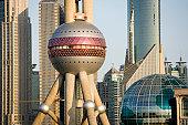 China, Shanghai, Pudong, Oriental Pearl Tower and Shanghai Fair