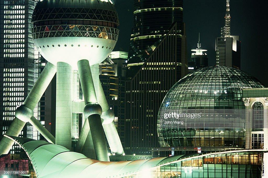 China, Shanghai, Pudong, Oriental Pearl Tower at night, close-up : Stock Photo