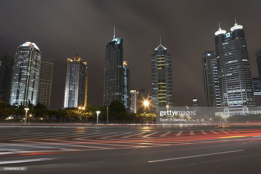 China, Shanghai, Pudong, skyline, skyscrapers, night : Stock Photo