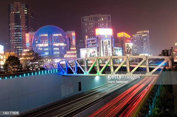 China, Shanghai, Puxi, downtown skyline illuminated at night