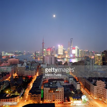 China, Shanghai skyline and financial district at : Stock Photo