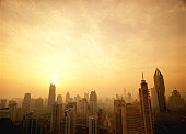 China, Shanghai skyline, sunrise
