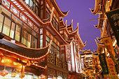 China, Shanghai, Yuyuan shopping area, night
