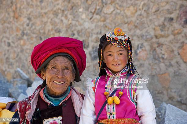 China. Shangri-La. Naxi woman and girl