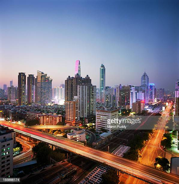 China, Shenzen skyline at dusk