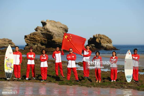 China Surfing Team L to R Assistant Coach/Athlete Huang Moyu Xu Jing Sen Qiu Zhuo Zhao Yuan Hong Head Coach Peter Townend Team Manager Ma Fu Lai...