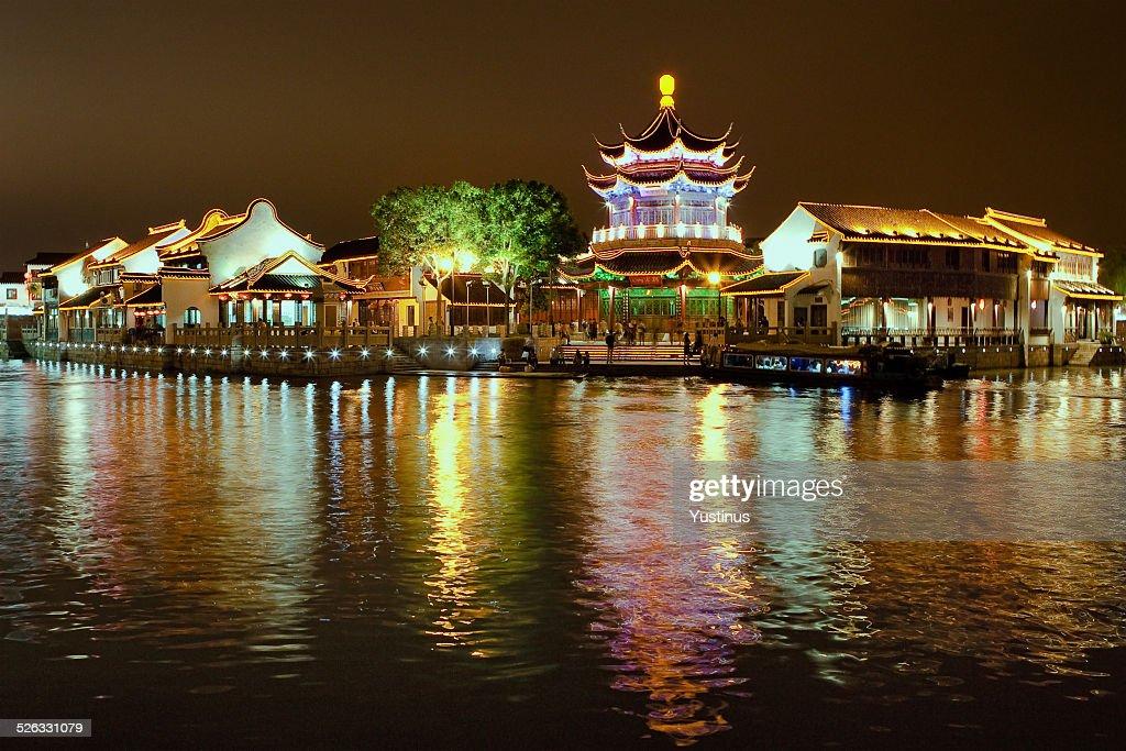 China, Suzhou city at night time