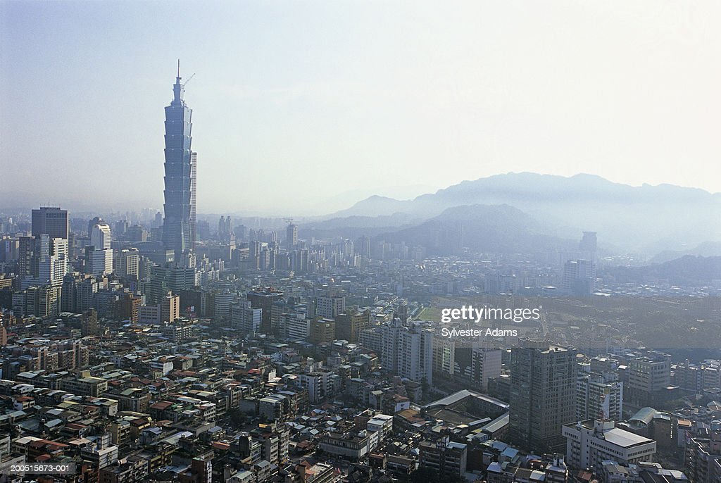 China, Taiwan, Taipei, 101 Tower and cityscape, elevated view