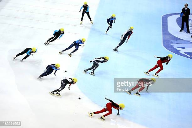China team Canada team Russia team and United States team compete in the Women's 3000m Semi Finals during day four of the Samsung ISU World Cup Short...