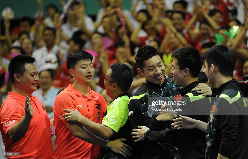 China team celebrate after beating Japan team during the 2016 World Table Tennis Championship Men's Team Division final match at Malawati Stadium on March 6, 2016 in Shah Alam, Malaysia.