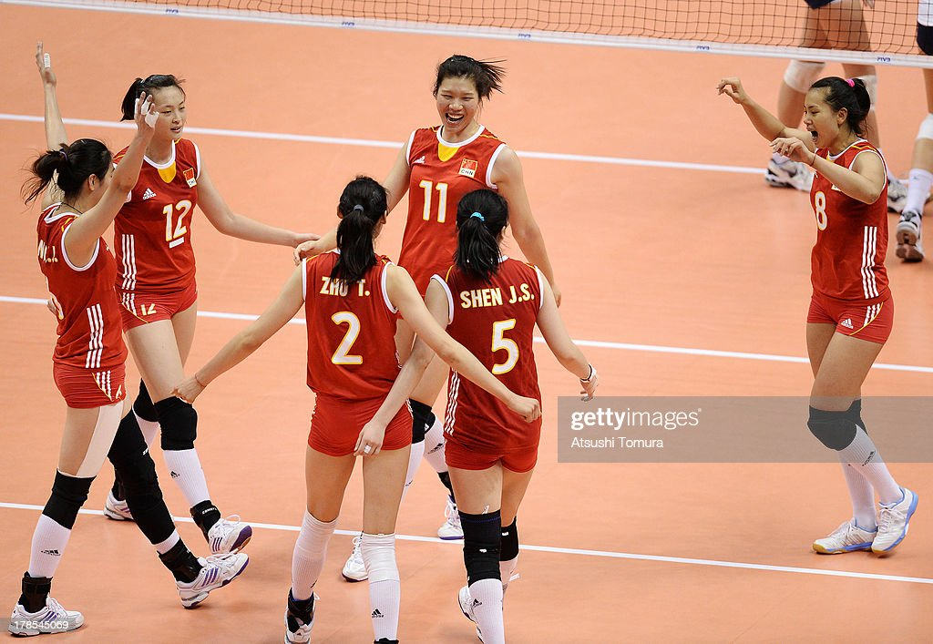 China team cereblate after winning the match against USA during day three of the FIVB World Grand Prix Sapporo 2013 match between China and USA at Hokkaido Prefectural Sports Center on August 30, 2013 in Sapporo, Hokkaido, Japan.