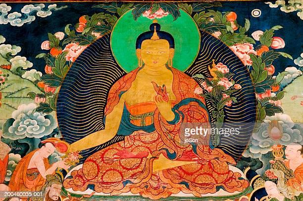 China, Tibet, Lhasa, Sera Monastery mural, full frame