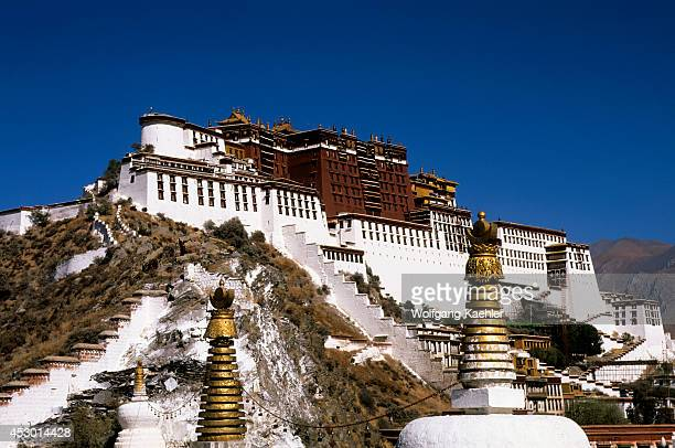 China Tibet Lhasa View Of Potala Stupas In Foreground