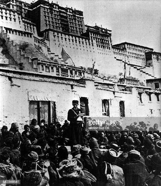 China Tibet tibeatn uprising march 1959 China enthrones a government in Lhasa An interpreter reading out to Tibetans Beijing's resolutions about the...