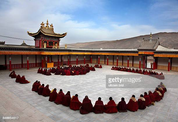 China Tibet Tongren Tibetan monastery Tibetan monks taking part in religious exercises