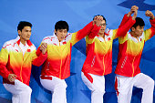 China wins gold medal in Men's 4 x100 medley relay finals during day seven of the 2014 Asian Games at Munhak Park Taehwan Aquatics Center on...