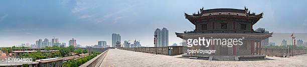 China Xi'an ancient city walls modern skyscrapers panoramic cityscape