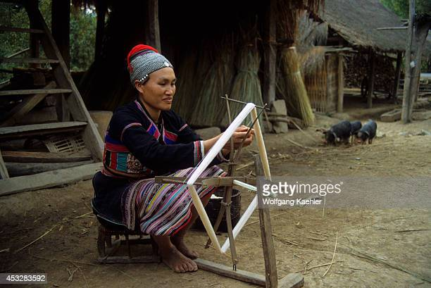 China Yunan Province Hua Yao Dai Woman In Traditional Dress Spinning Wool Xishuang Bana