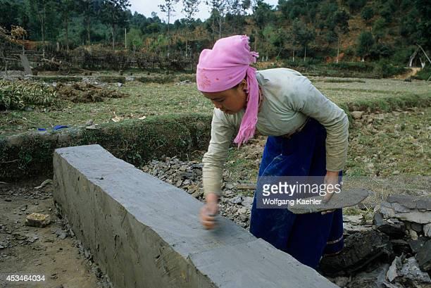 China Yunnan Province Xishuang Bana Shui Dai People Making Tiles For Roof
