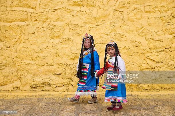 China. Yunnan. Shangri-La.Two little Naxi girls