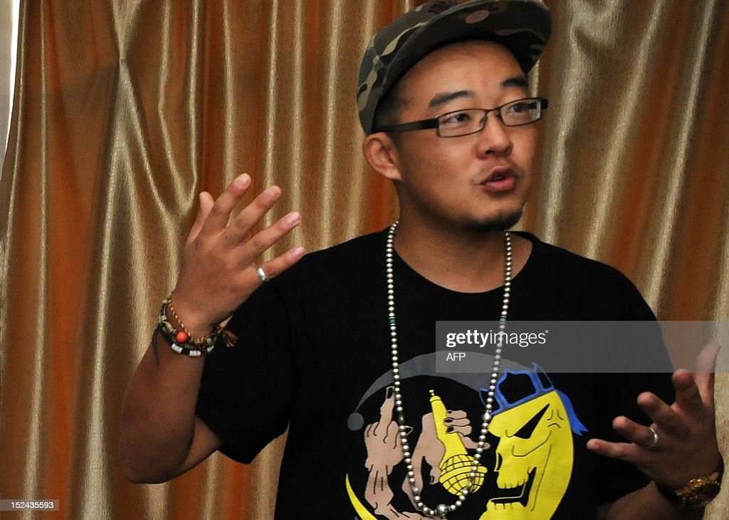 STORY 'China-culture-music,FEATURE' BY TOM HANCOCK This picture taken on August 21, 2012, shows rapper Sodmuren of hip-hop band 'Poorman', in Hohhot, north China's Inner Mongolia region. Members of China's Mongolian ethnic minority, whose ancestors were first united by Genghis Khan, are turning to hip hop to condemn the resources boom they say is wreaking havoc on their traditions and lands -- while avoiding the authorities' attention.