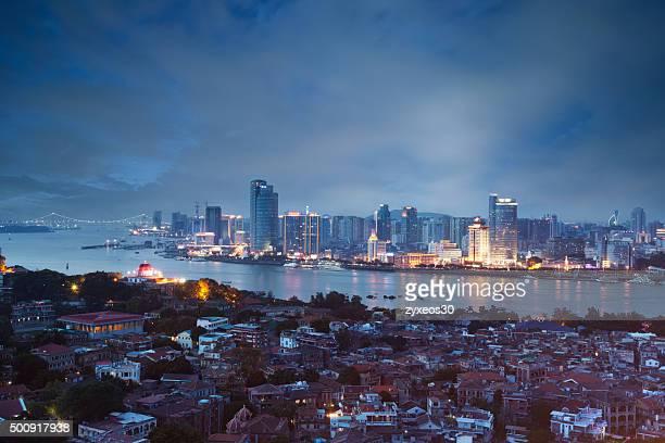 China,Fujian province,xiamen cityscape,High Angle View.