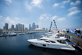 ChinaluxurylifestyleyachtFOCUS by Sébastien BLANC This photo taken on July 5 2014 shows luxury yachts lined up at a boat show at the port in the...