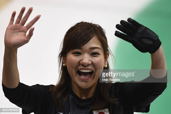 Chinami Yoshida of Japan celebrates victory against Qatar during the preliminary round of the women's curling on day one of the 2017 Sapporo Asian...