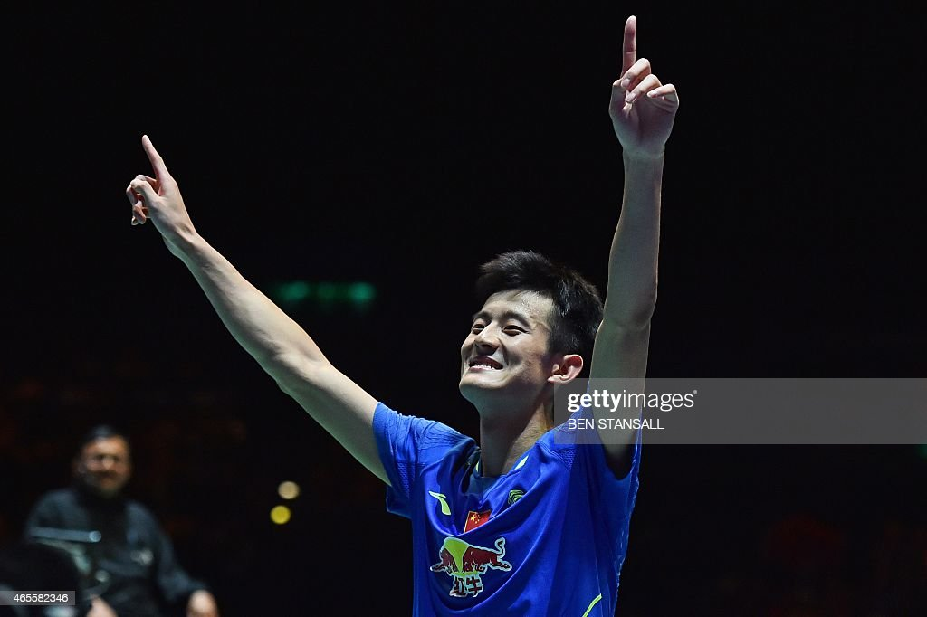 China's <a gi-track='captionPersonalityLinkClicked' href=/galleries/search?phrase=Chen+Long+-+Badminton+Player&family=editorial&specificpeople=9613842 ng-click='$event.stopPropagation()'>Chen Long</a> reacts after beating Denmark's Jan Jorgensen (not seen) in their All England Open Badminton Championships men's singles final match in Birmingham, central England, on March 8, 2015.