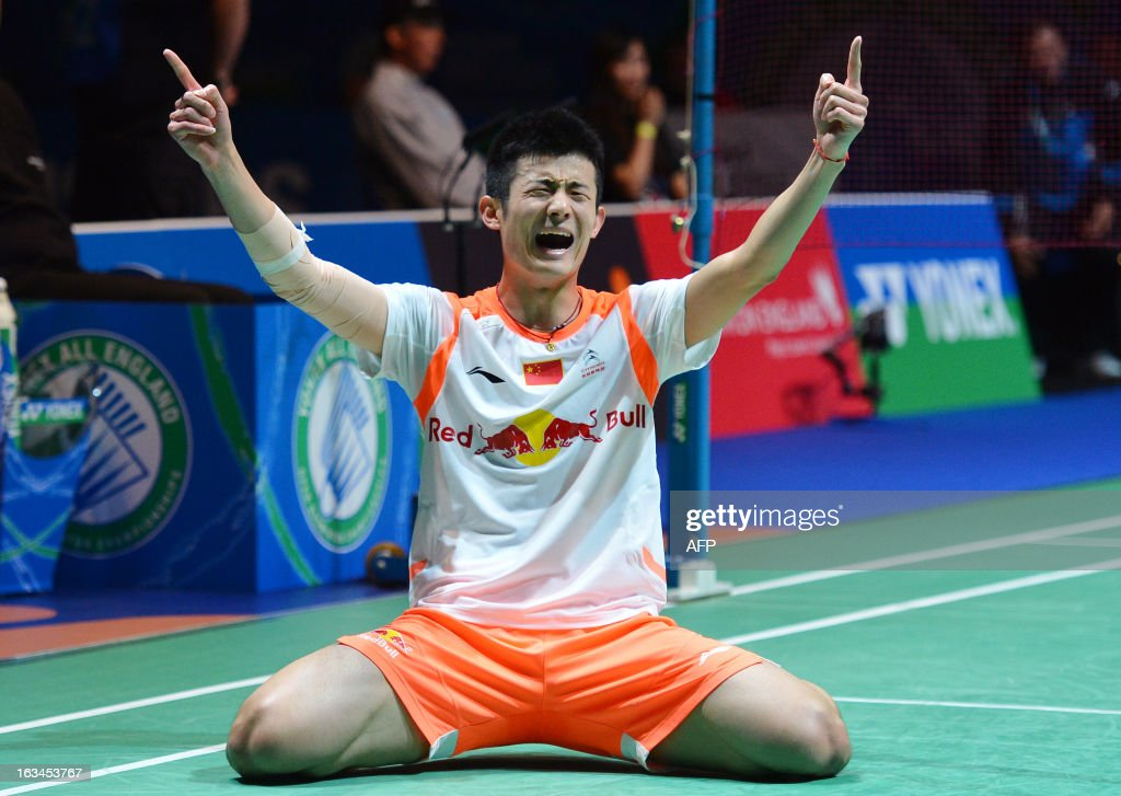 China's Chen Long reacts after winning the All England Open Badminton Championships men's singles final match against Malaysia's Lee Chong Wei in Birmingham, central England, on March 10, 2013. AFP PHOTO/BEN STANSALL