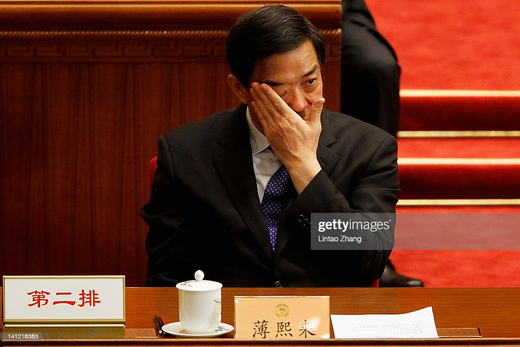 China's Chongqing Municipality Communist Party Secretary Bo Xilai attends closing session of the National Committee of the Chinese People's Political Consultative Conference (CPPCC) at the Great Hall of the People on March 13, 2012 in Beijing, China. Known as 'liang hui,' or 'two organizations', it consists of meetings of China's legislature, the National People's Congress (NPC), and its advisory auxiliary, the Chinese People's Political Consultative Conference (CPPCC).
