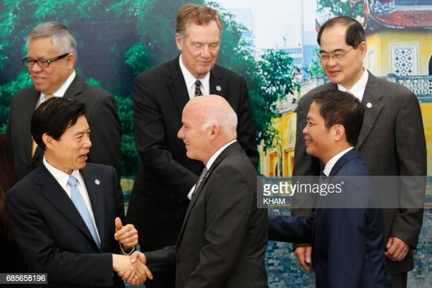 China's Commerce Minister Zhong Shan Peru's Foreign Trade and Tourism Minister Eduardo Ferreyros and Vietnam's Trade and Industry Minister Tran Tuan...