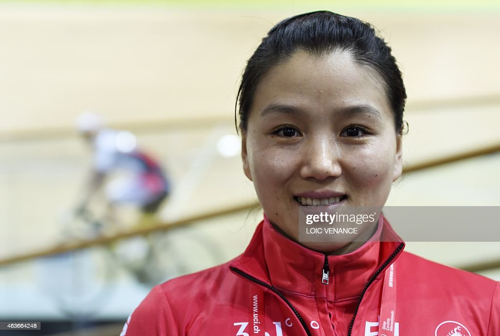 China's cyclist <a gi-track='captionPersonalityLinkClicked' href=/galleries/search?phrase=Gong+Jinjie&family=editorial&specificpeople=687823 ng-click='$event.stopPropagation()'>Gong Jinjie</a> poses on the eve of the opening of the Track Cycling World Championships in Saint-Quentin-en-Yvelines, outside Paris, on February 17, 2015.