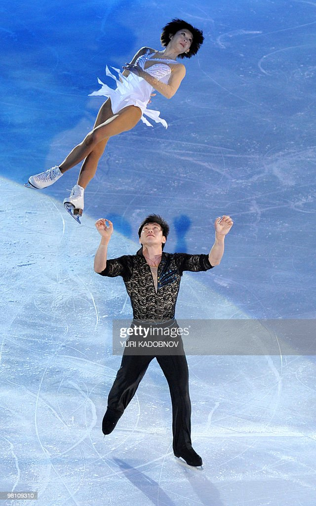 China's Dan Zhang and Hao Zhang perform during the exhibition gala of the World Figure Skating Championships on March 28, 2010 at the Palavela ice-rink in Turin.