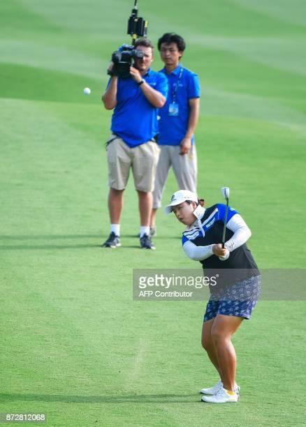 China's Feng Shanshan plays a shot during the Blue Bay LPGA golf tournament at Jian Lake Blue Bay Golf Course on China's southern Hainan island on...