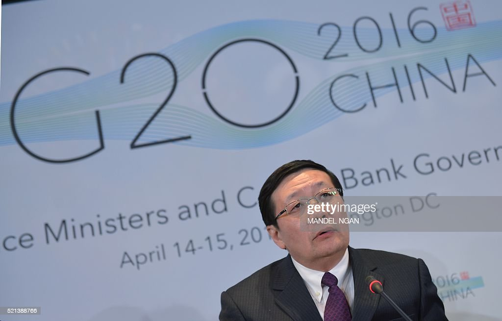 China's Finance Minister Lou Jiwei, chair of the G20, speaks during a G20 press conference following a G20 Finance Ministers and Central Bank Governors during the annual International Monetary Fund, World Bank Spring Meetings at the IMF on April 15, 2016 in Washington, DC. / AFP / Mandel NGAN