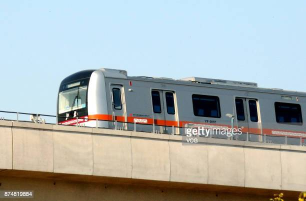 China's first driverless subway train undergoes a test run at Fangshan District on November 15 2017 in Beijing China Trains on the 166km Yanfang Line...
