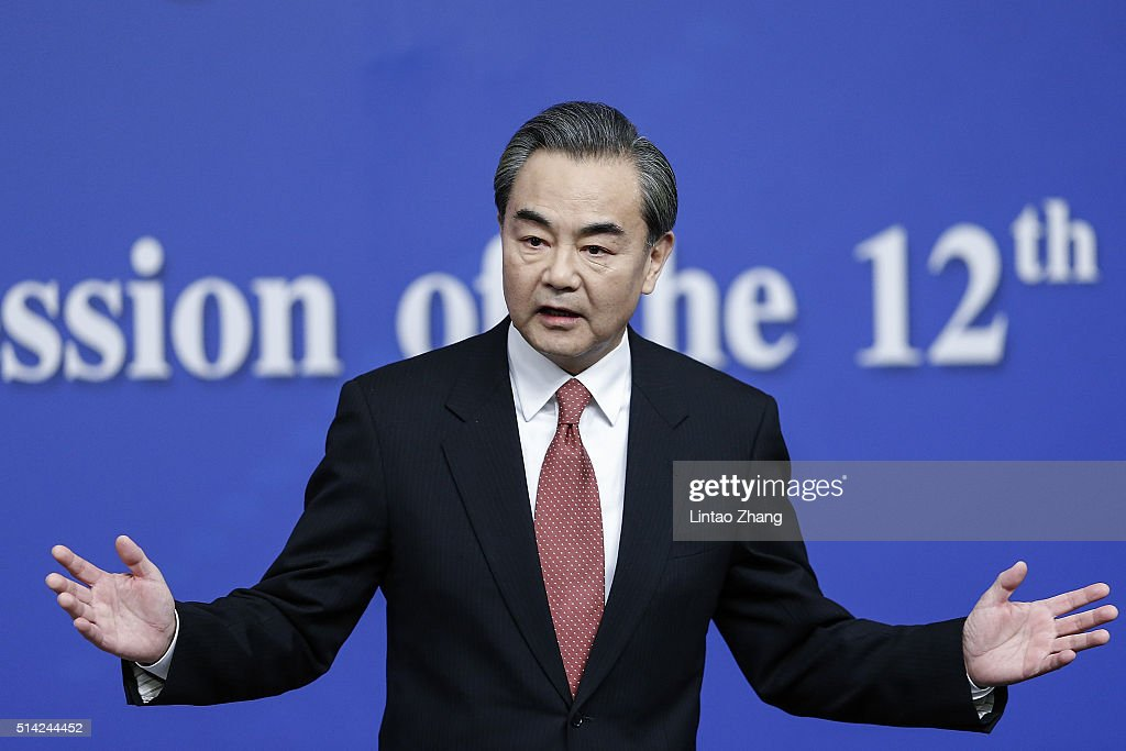 China's foreign minister <a gi-track='captionPersonalityLinkClicked' href=/galleries/search?phrase=Wang+Yi+-+Politician&family=editorial&specificpeople=13620429 ng-click='$event.stopPropagation()'>Wang Yi</a> attends a press conference during the Fourth Session of the 12th National People's Congress (NPC) on March 8, 2016 in Beijing, China. Chinese President Xi Jinping announced that China will host the leaders of the Group of Twenty summit in Hangzhou eleventh year 4 to 5 September.