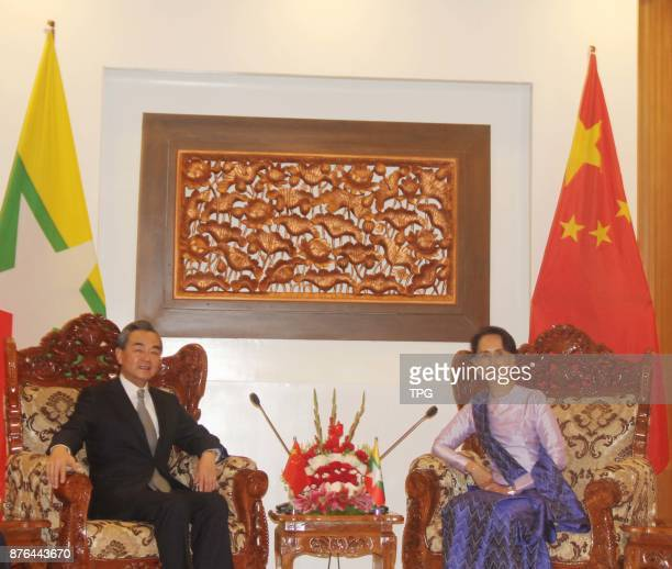 China's Foreign Minister Wang Yi meeting with Myanmar minister of state and foreign minister Aung San Suu Kyi on 20th November 2017 in Myanmar
