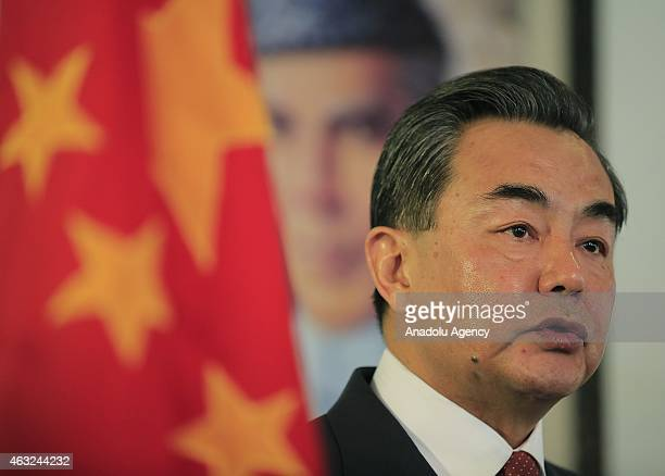 China's Foreign Minister Wang Yi speaks during a joint press conference with and Adviser to Pakistans Prime Minister on National Security and Foreign...