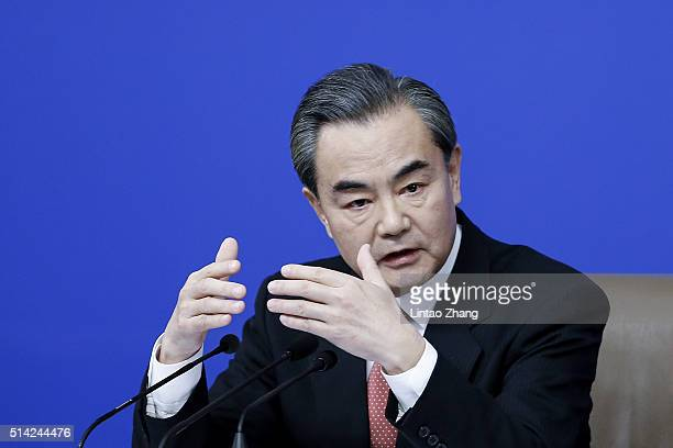 China's foreign minister Wang Yi speaks during a press conference during the Fourth Session of the 12th National People's Congress on March 8 2016 in...