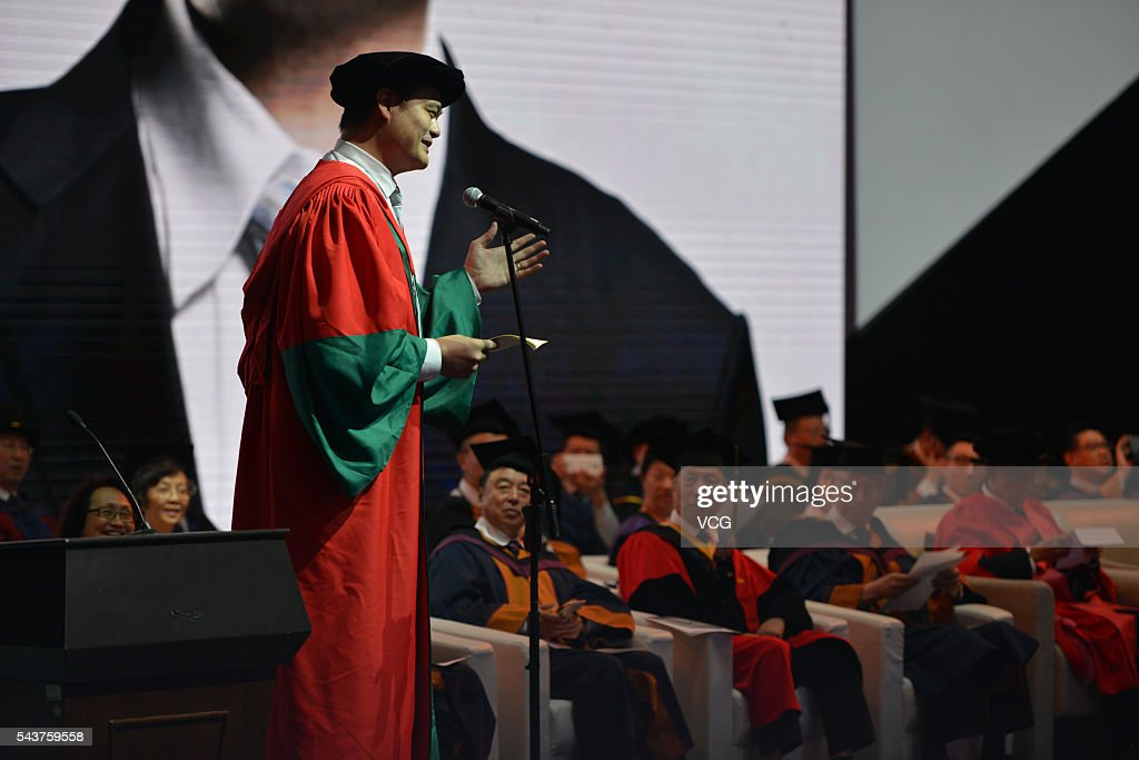 China's former NBA star <a gi-track='captionPersonalityLinkClicked' href=/galleries/search?phrase=Yao+Ming&family=editorial&specificpeople=201476 ng-click='$event.stopPropagation()'>Yao Ming</a> gives a lecture during graduation ceremony of Shantou University on June 30, 2016 in Shantou, Guangdong Province of China. Hong Kong business magnate, investor, and philanthropist Li Ka-shing and former NBA player arrived at the graduation ceremony of Shantou University which is a key comprehensive university under the '211 Project' in the Guangdong province and also the only public university in the world that receives long-term funding from the Li Ka Shing Foundation.