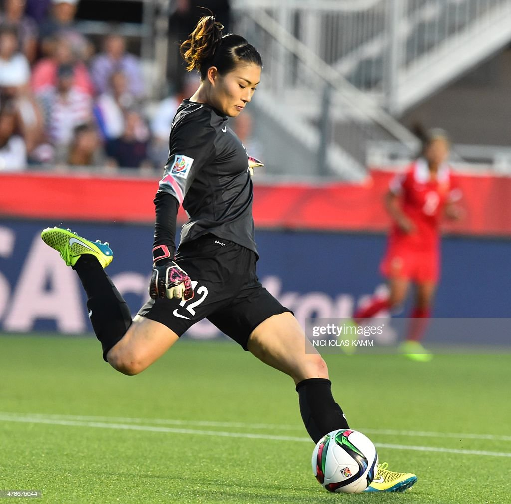 China's goalkeeper Wang Fei kicks the ball during a 2015 FIFA Women's World Cup quarterfinal match between the US and China at Lansdowne Stadium in...