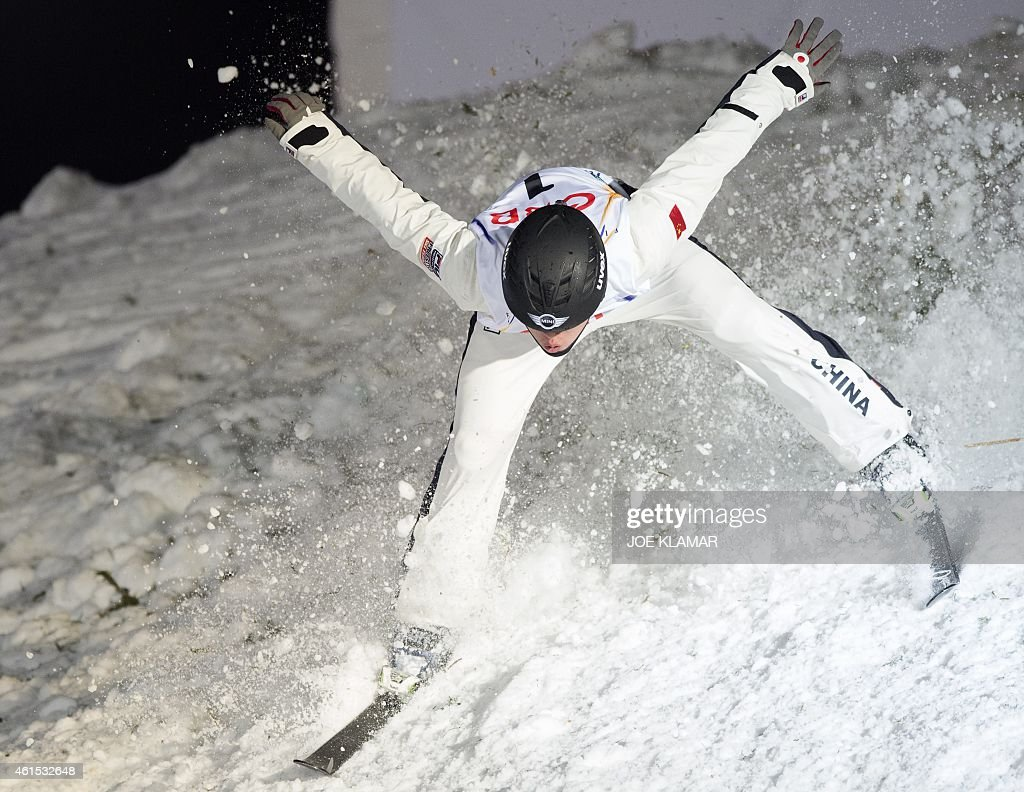 China's Guangpu Qi competes during the men's Aerials Qualification of the FIS Freestyle and Snowboarding World Ski Championships 2015 in Kreischberg, Austria on January 14, 2015.