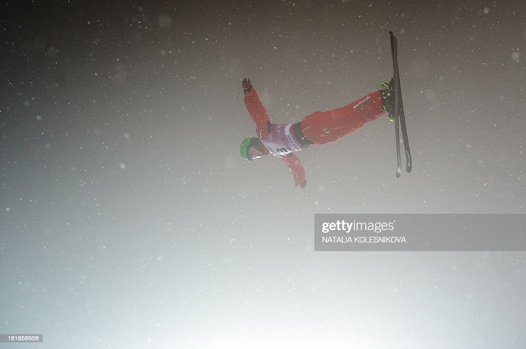 China's Guangpu Qi jumps during the Freestyle Ski World Cup Men's Aerials Test Event at the Snowboard and Freestyle Center in Rosa Khutor near the Black Sea resort of Sochi, on February 17, 2013. Chinese Guangpu Qi won ahead of Chinese Zhongqing Liu and Belarus Denis Osipau.