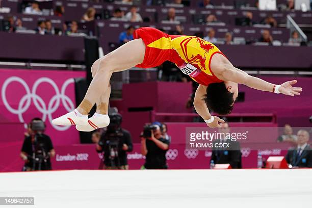 China's gymnast Zou Kai performs during the men's floor exercise final of the artistic gymnastics event of the London Olympic Games on August 5...