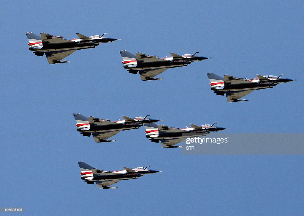 China's J10 fighter jets perfom during the Air Show 2010 in Zhuhai south China's Guangzhou province on November 17 2010 China on November 16 won...