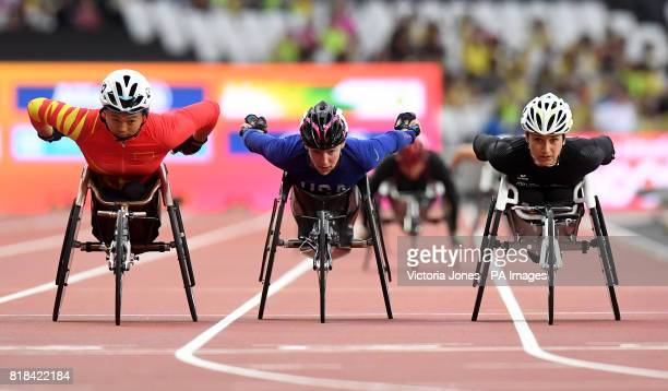 China's Jing Ma USA's Amanda McGrory and Switzerland's Manuela Schaer in the Women's 800m T54 heat one during day five of the 2017 World Para...