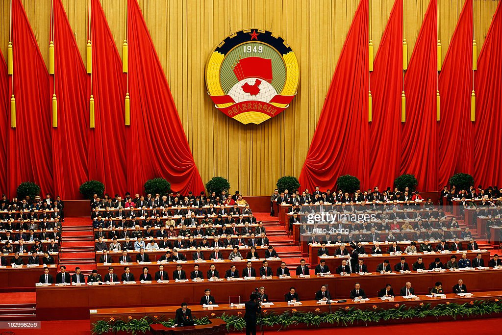 China's leaders attend the opening session of the Chinese People's Political Consultative Conference at Great Hall of the People on March 3, 2013 in Beijing, China. Over 2,000 members of the 12th National Committee of the Chinese People's Political Consultative, a political advisory body, are attending the annual session, during which they will discuss the development of China.